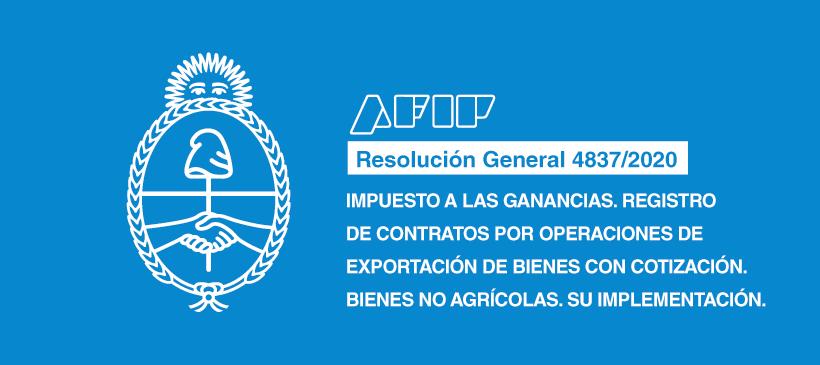 AFIP: Impuesto a las Ganancias. Registro de contratos por operaciones de exportación de bienes con cotización. Bienes no agrícolas. Su implementación.