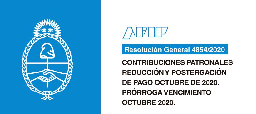 AFIP: Contribuciones patronales Reducción y postergación de pago octubre de 2020. Prórroga vencimiento octubre 2020.