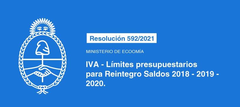 MINISTERIO DE ECONOMÍA: IVA – LIMITES PRESUPUESTARIOS PARA REINTEGRO SALDOS 2018-2019-2020