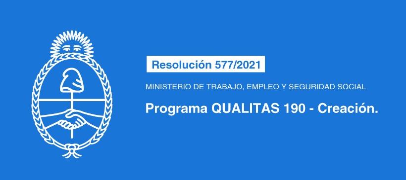 MINISTERIO DE TRABAJO, EMPLEO Y SEGURIDAD SOCIAL: PROGRAMA QUALITAS 190 – CREACION